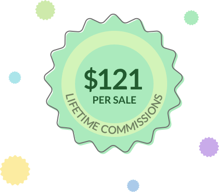 Image showing lifetime commission per sale of $121 paid by Wealthy Affiliate to its affiliates
