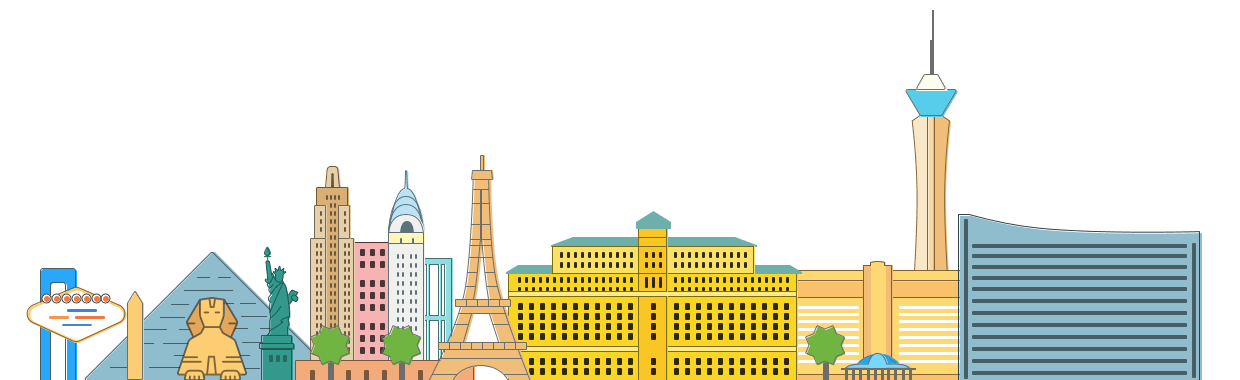 Drawing of major building landmarks from around the world like the Eiffel Tower, the Pyramid of Gizel to show how Vegas conference is also some fun at Wealthy Affiliate