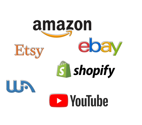 Logos of amazon, Etsy, ebay, shopify, WA and YouTube to show brands Wealthy Affiliate members can promote and where to make money online